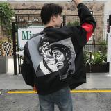 Harga Musim Gugur Dan Musim Dingin Korea Fashion Style Ditambah Beludru Pria Badut Bisbol Seragam Hitam Jaket Pria Jaket Jeans Jaket Denim Branded