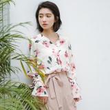 Spesifikasi Longgar Korea Fashion Style Musim Semi Elegan Bunga Kemeja Kemeja Sifon Beige Cahaya Baju Wanita Baju Atasan Kemeja Wanita Oem