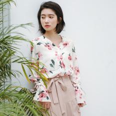 Longgar Korea Fashion Style Musim Semi Elegan Bunga Kemeja Kemeja Sifon (Beige cahaya) baju wanita baju atasan kemeja wanita