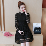 Harga Versi Korea Dari Musim Gugur Wanita Baru Bagian Panjang Rok Gaun Hitam Branded