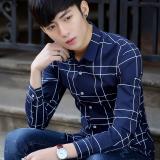 Spesifikasi Kemeja Pria Lengan Panjang Membentuk Tubuh Netral Versi Korea Biru Bawah Sel Putih Paling Bagus