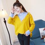 Beli Longgar Korea Fashion Style Musim Semi Baru Leher Bulat Bergaris Kemeja Kuning Lemon Kuning Lemon Kredit