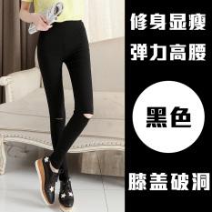 Jual Wanita Musim Semi Dan Musim Gugur Pakaian Luar Celana Pengemis Baru Legging Tidak Ada Gesper Lubang Lutut Hitam Import