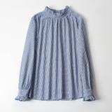 Korean Style Spring New Style Frilled Striped Shirt Biru Dan Putih Garis Garis Baju Wanita Baju Atasan Kemeja Wanita Blouse Wanita Tiongkok