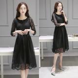 Harga Korea Fashion Style Musim Semi Dan Gugur Baru Lace Dress Hitam Hitam