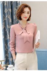 Jual Korea Fashion Style Musim Semi Dan Musim Gugur Baru Slim Sifon Baju Dalaman Merah Muda Branded Original