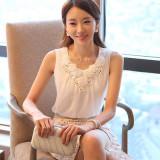 Harga Mosangka Rompi Pendek Wanita Trendi Bahan Sifon Renda Tanpa Lengan Warna Putih 122 Putih Satu Set
