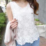 Jual Beli Mosangka Rompi Pendek Wanita Trendi Bahan Sifon Renda Tanpa Lengan Warna Putih 133 Putih Baru Tiongkok