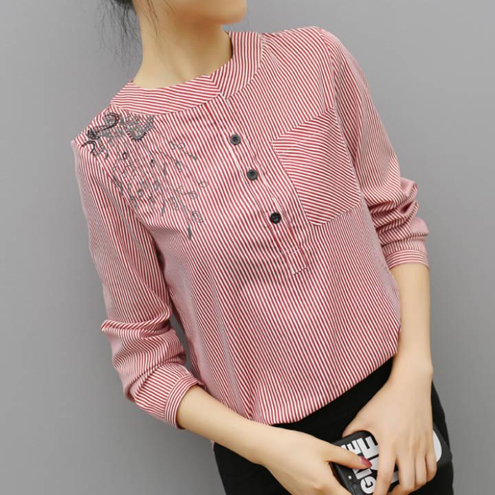 harga Baju Dalaman Korea Fashion Style Baru Kemeja Musim Semi Dan Musim Gugur Pada (Merah) baju wanita baju atasan kemeja wanita Lazada.co.id