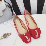 Harga Versi Korea Dari Musim Semi Dan Musim Gugur Kepala Persegi Sepatu Flat 8 Merah Di Tiongkok