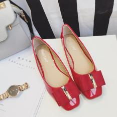 Beli Versi Korea Dari Musim Semi Dan Musim Gugur Kepala Persegi Sepatu Flat 8 Merah Terbaru