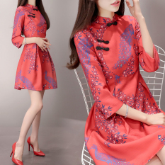 Harga Musim Gugur Dan Musim Dingin Korea Fashion Style Sifon Baru Lebih Tebal Tank Top Yang Bisa Dipadukan Rok Cheongsam Semangka Merah Lengan Musim Semi Dan Musim Gugur Baju Wanita Dress Wanita Gaun Wanita Tiongkok