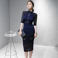 Spek Korea Fashion Style Musim Semi Dan Musim Panas Baru Berongga Gaun Biru Tua Biru Tua Baju Wanita Dress Wanita Gaun Wanita Tiongkok