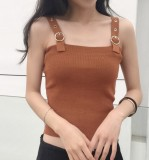 Spesifikasi Korean Style Spring And Summer New Style Slim Fit Bare Midriff Vest Khaki Dan Harga