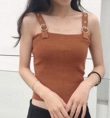 Harga Korean Style Spring And Summer New Style Slim Fit Bare Midriff Vest Khaki Baru Murah