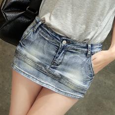 Spesifikasi Versi Korea Dari Musim Semi Dan Musim Panas Baru Tipis Celana Pendek Denim Rok Abu Abu Biru Yang Bagus Dan Murah