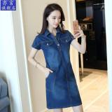 Beli Longgar Korea Fashion Style Model Musim Semi Yard Besar Setengah Panjang Model Lengan Pendek Koboi Gaun Denim Biru Baju Wanita Dress Wanita Gaun Wanita Lengkap