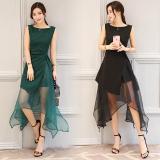Jual Korea Fashion Style Organza Hitam Yang Tidak Teratur A Rok Kata Gaun Hijau Gelap Hijau Gelap Satu Set