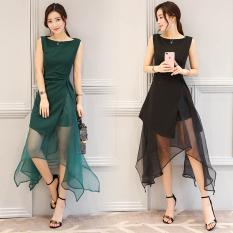 Toko Korea Fashion Style Organza Hitam Yang Tidak Teratur A Rok Kata Gaun Hitam Hitam Oem Tiongkok