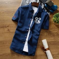 Jual Korea Fashion Style Oxford Pria Tampan Kemeja Putih Lengan Pendek Kemeja 626 Biru Tua Untuk Mengirim T Shirt Lengkap