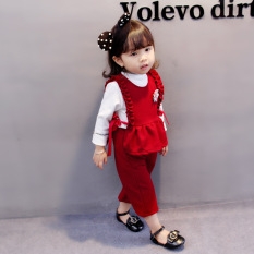 Korea Fashion Style Katun Pakaian Rompi Busana Anak-anak (Merah)