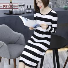 Jual Longgar Korea Fashion Style Musim Semi Baru Lengan Panjang Bergaris Gaun Hitam Dan Putih Branded