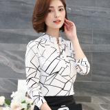 Spesifikasi Kemeja Korea Fashion Style Baru Kemeja Sifon Lengan Panjang Wanita Mne8811 Putih Bergaris Murah