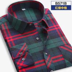 Toko Korea Fashion Style Pengamplasan Laki Laki Lengan Panjang Pakaian Pria Kemeja Kotak Kotak Kemeja B571B B571B Baju Atasan Kaos Pria Kemeja Pria Murah Di Tiongkok