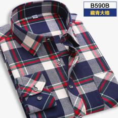 Harga Korea Fashion Style Pengamplasan Laki Laki Lengan Panjang Pakaian Pria Kemeja Kotak Kotak Kemeja B590B B590B Baju Atasan Kaos Pria Kemeja Pria Online Tiongkok