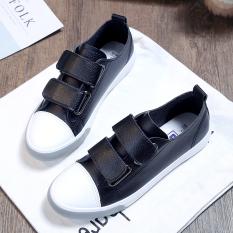 Review Toko Korea Fashion Style Perempuan Baru Mudah Dipakai Sepatu Kets Putih Mulut Dangkal Sepatu Kanvas Hitam