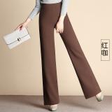 Jual Versi Korea Dari Perempuan Longgar Lebar Kaki Celana Pinggang Tinggi Kaki Celana Yang Lebar F1003 Warna Kopi Merah Bagian Tebal Grosir