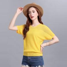 Beli Longgar Korea Fashion Style Perempuan Terlihat Langsing Sweater T Shirt Bagian Kuning Satu Pake Kartu Kredit