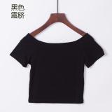 Beli Versi Korea Dari Perempuan Pinggang Tinggi Crop Top T Shirt Hitam Terkena Pusar Secara Angsuran