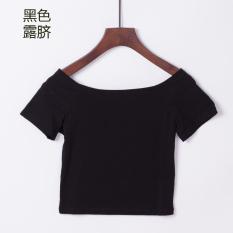 Versi Korea Dari Perempuan Pinggang Tinggi Crop Top T Shirt Hitam Terkena Pusar Oem Diskon 40