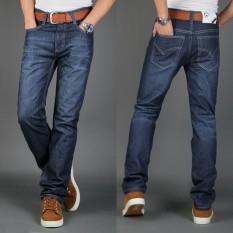 Celana Jeans Pria Lurus Membentuk Tubuh Trendi (Denim biru) (Denim biru)