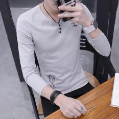 Jual Versi Korea Dari Pria Katun Bordir Bottoming Kemeja Baru Lengan Panjang T Shirt Abu Abu Baru