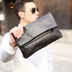 Toko Versi Korea Dari Pria Lipat Clutch Bag Clutch Tas Hitam Lengkap