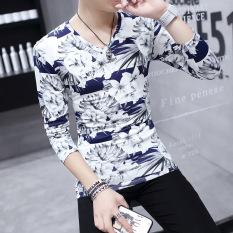 Top 10 Versi Korea Dari Pria Muda Bottoming Shirt Cetak Baru Lengan Panjang T Shirt Gardenia Bunga Biru Baju Atasan Kaos Pria Kemeja Pria Online
