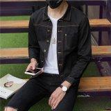 Beli Versi Korea Dari Pria Slim Bagian Tipis Jaket Denim Jaket Denim Mantel Hitam Murni Dengan Kartu Kredit
