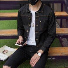 Promo Versi Korea Dari Pria Slim Bagian Tipis Jaket Denim Jaket Denim Mantel Hitam Murni Other Terbaru