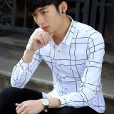 Toko Versi Korea Dari Pria Slim Non Besi Bergaris Kemeja Lengan Panjang Kemeja 901 Putih Kotak Kotak Besar Murah Di Tiongkok