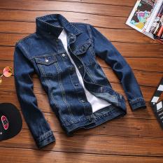 Beli Jaket Jeans Pria Lengan Panjang Retro Versi Korea Biru Tua Biru Tua Oem Murah