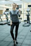 Toko Jual Kaos Oblong Wanita Lengan Panjang Katun Warna Cepat Kering Super Ringan Olahraga Versi Korea Abu Abu Dua Potong
