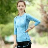 Kaos Oblong Wanita Lengan Panjang Katun Warna Cepat Kering Super Ringan Olahraga Versi Korea Biru T Shirt Asli