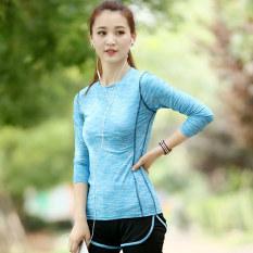 Toko Kaos Oblong Wanita Lengan Panjang Katun Warna Cepat Kering Super Ringan Olahraga Versi Korea Biru T Shirt Lengkap Tiongkok