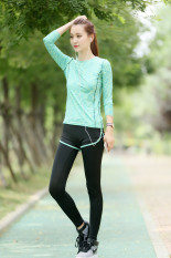 Jual Kaos Oblong Wanita Lengan Panjang Katun Warna Cepat Kering Super Ringan Olahraga Versi Korea Hijau Dua Potong Branded Murah