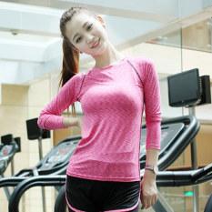 Kaos Oblong Wanita Lengan Panjang Katun Warna Him Kering Super Ringan Olahraga Versi Korea (Naik Merah Kaus)