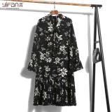 Spesifikasi Versi Korea Dari Sifon Longgar Rok Lipit Tipis Lengan Panjang Motif Bunga Gaun Putih Bunga Hitam Tunggal Yang Bagus