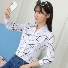 Toko Kemeja Wanita Lengan Pendek Panjang Bahan Sifon Motif Salur Pas Badan Gaya Korea Warna Putih Kekacauan Bunga Lengan Panjang Terdekat