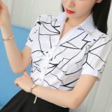 Spek Kemeja Wanita Lengan Pendek Panjang Bahan Sifon Motif Salur Pas Badan Gaya Korea Warna Putih Kekacauan Bunga Lengan Pendek Tiongkok
